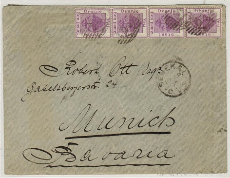 ORANGE FREE STATE - 1897 4d rate cover to Bavaria used at SENEKAL.