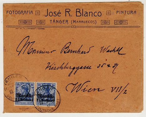 MOROCCO AGENCIES (German Offices) - 1912 40pfg rate cover to Austria used at TANGER.
