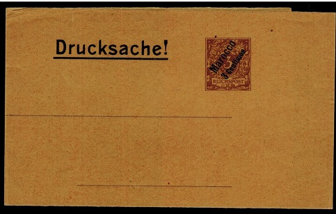 MOROCCO AGENCIES (German Offices) - 1889 3pfg brown unused postal stationery wrapper.  H&G 8.