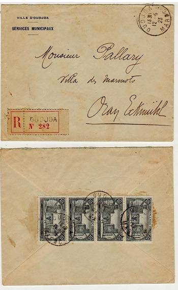 MOROCCO AGENCIES (French Offices) - 1923 60c rate cover used locally at OUDJDA/MAROC.