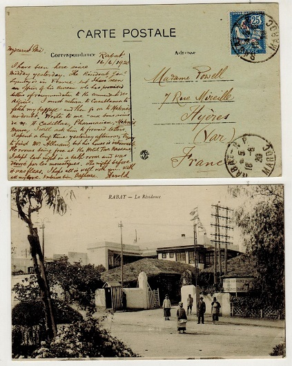 MOROCCO AGENCIES (French Offices) - 1920 25c/25c blue rate postcard use to France used at RABAT.