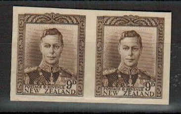 NEW ZEALAND - 1947 9d IMPERFORATE PLATE PROOF pair on thick card.