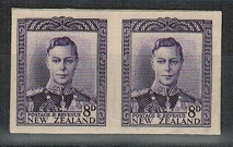 NEW ZEALAND - 1947 8d IMPERFORATE PLATE PROOF pair on thick card.