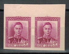 NEW ZEALAND - 1947 4d IMPERFORATE PLATE PROOF pair on thick card.