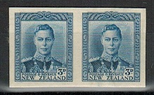 NEW ZEALAND - 1947 3d IMPERFORATE PLATE PROOF pair on thick card.