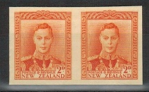 NEW ZEALAND - 1947 2d IMPERFORATE PLATE PROOF pair on thick card.