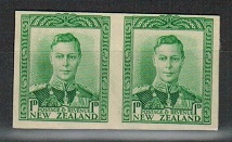 NEW ZEALAND - 1938-44 1d IMPERFORATE PLATE PROOF pair on thick card.