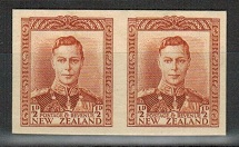 NEW ZEALAND - 1938-44 1/2d IMPERFORATE PLATE PROOF pair on thick card.