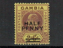GAMBIA - 1906 1/2d on 2/6d purple/brown fine mint with BROKEN E variety.  SG 69.