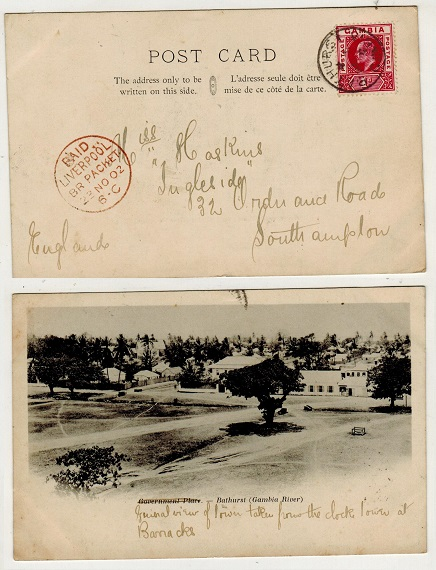 GAMBIA - 1902 1d rate postcard use to UK.