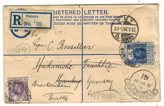 CAMEROONS - 1926 3d blue RPSE of Nigeria addressed to Germany uprated and used at VICTORIA.