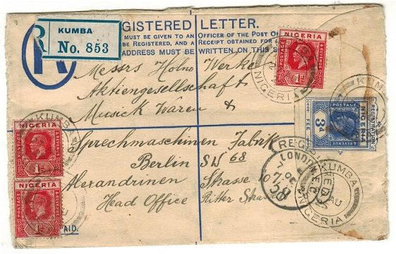 CAMEROONS - 1925 3d blue RPSE of Nigeria addressed to Germany uprated and used at KUMBA.