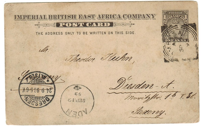 BRITISH EAST AFRICA - 1893 1a grey PSC to Germany used at MOMBASA.  H&G 2.
