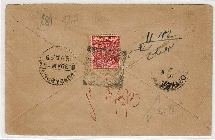 BRITISH EAST AFRICA - 1899 1a rate cover to India used at KILINDINI.