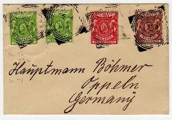 BRITISH EAST AFRICA - 1898 4a rate cover to Germany used at MOMBASA.