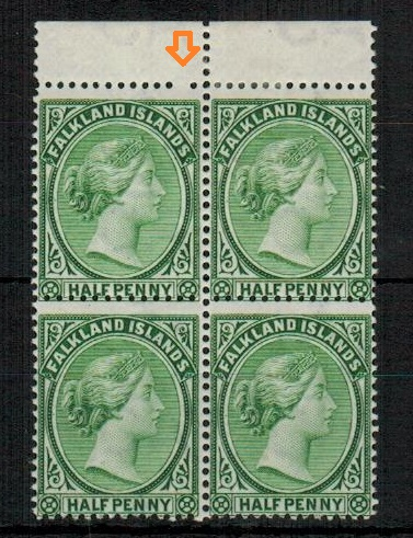 FALKLAND ISLANDS - 1891 1/2 green mint block of four showing MISSING PERF HOLE in margin.  SG 16.