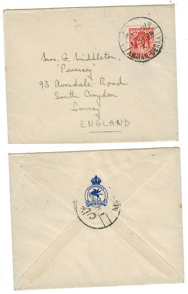 TRANSJORDAN - 1938 10m rate cover to UK used on the AMMAN-DERRA