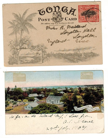 TONGA - 1906 1d red illustrated PSC to UK used at NUKUALOFA.  H&G 1 (1).