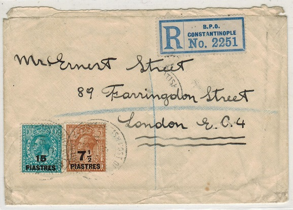 BRITISH LEVANT - 1922 22 1/2p rate registered cover to UK used at CONSTANTNOPLE.