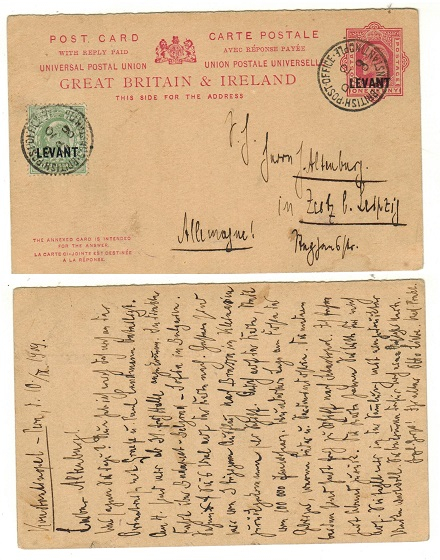 BRITISH LEVANT - 1905 outward 1d+1d section of the PSC uprated to Germany.  H&G 18.