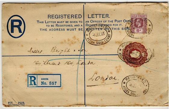 GOLD COAST - 1924 3d brown RPSE uprated to UK cancelled REGISTERED/ACCRA GOLD COAST.  H&G 11e.