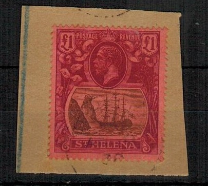 ST.HELENA - 1922-37 £1 purple adhesive tied to piece by light ST.HELENA cds.  SG 96.