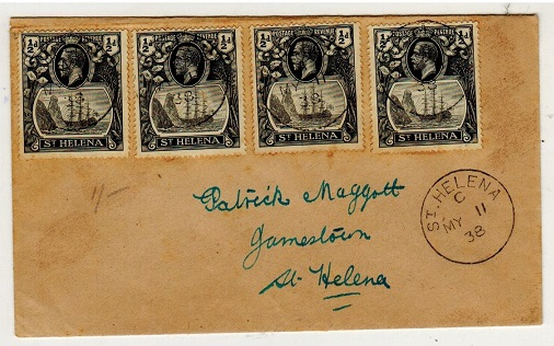 ST.HELENA - 1938 2d rate local cover with 1/2d