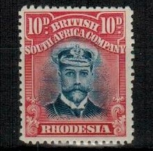 RHODESIA - 1923 10d bright ultramarine and carmine-red