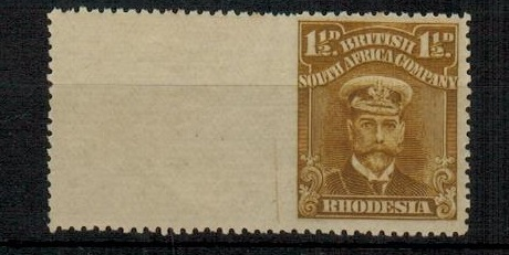 RHODESIA - 1919 1 1/2d brown ochre fine mint showing IMPERFORATE TO LEFT GUTTER.  SG 197.