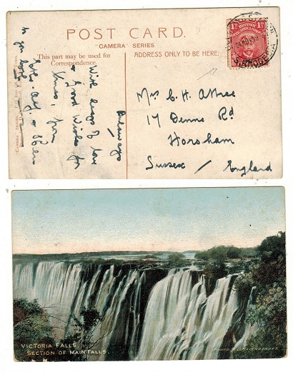 RHODESIA - 1917 1d rate postcard use to UK used at BULAWAYO STATION.
