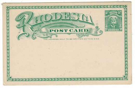 RHODESIA - 1913 1/2d green PSC fine unused.  H&G 14.