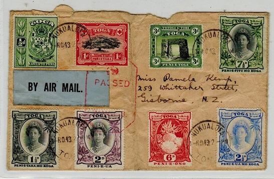 TONGA - 1943 multi franked registered cover to New Zealand with PASSED/ WW/3 censor h/s.