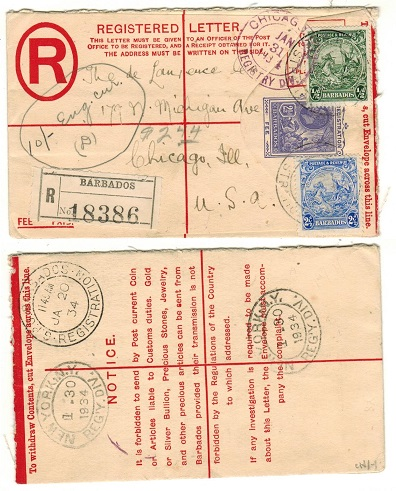 BARBADOS - 1923 2 1/2d blue RPSE uprated to USA.  H&G 12.
