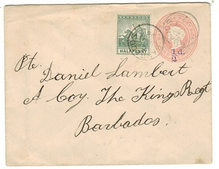 BARBADOS - 1892 1/2d violet on 1d pink PSE uprated locally military use.  H&G 2b.