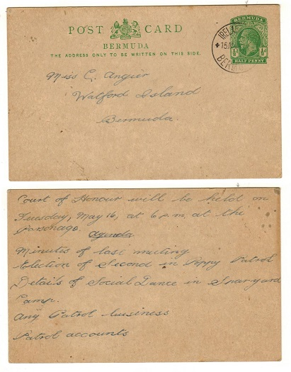BERMUDA - 1912 1/2d green PSC used locally to Watford Island.  H&G 14.
