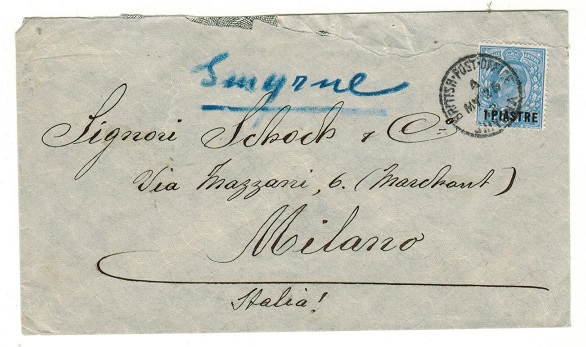 BRITISH LEVANT - 1912 1p on 2 1/2d rate cover to Italy used at SMYRNA.