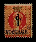 GRENADA - 1886 1d on 4d surcharge fine used.  SG 39.