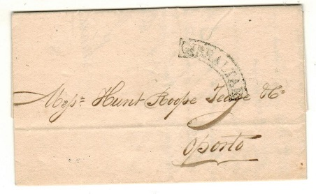 GIBRALTAR - 1838 entire to Portugal cancelled by curved arc GIBRALTAR h/s.