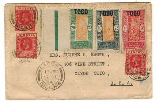 NIGERIA - 1924 cover to USA showing misuse of Togo adhesives at LAGOS.