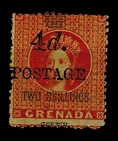 GRENADA - 1888 4d on 2/- orange surcharge mint.  SG 41.