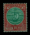 GRENADA - 1908 10/- green and red adhesive mint.  SG 83.