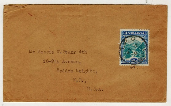 JAMAICA - 1935 2 1/2d rate cover to UK used at TPO/JAMAICA.