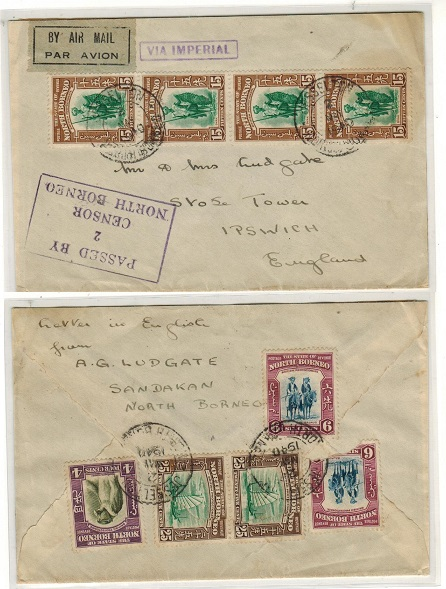 NORTH BORNEO - 1940 cover to UK struck PASSED BY/2/CENSOR/NORTH BORNEO h/s.