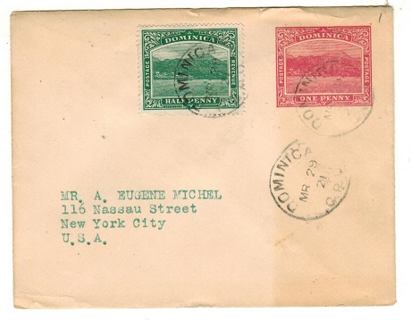 DOMINICA - 1903 1d carmine PSE uprated to USA (fault) used at DOMINICA/GPO.  H&G 1.