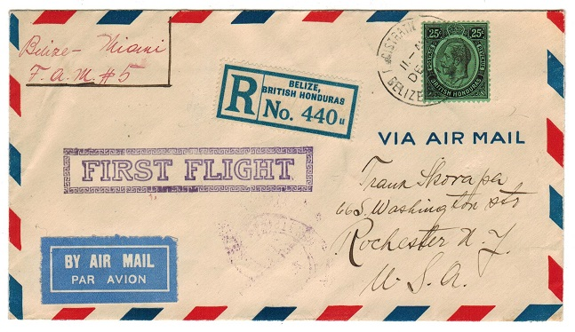 BRITISH HONDURAS - 1931 25c rate registered first flight cover to USA.