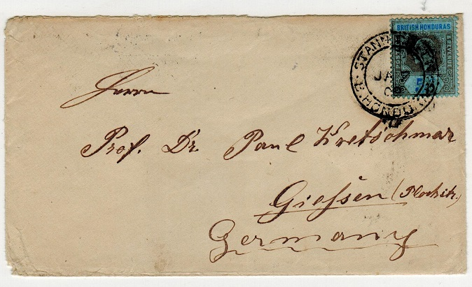 BRITISH HONDURAS - 1909 5c rate cover to Germany used at STANN CREEK.