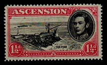 ASCENSION - 1949 1 1/2d (SG 40da) mint with DAVIT FLAW variety.