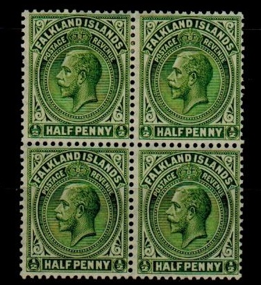 FALKLAND ISLANDS - 1921-28 1/2d yellowish green  mint block of four.  SG 73.