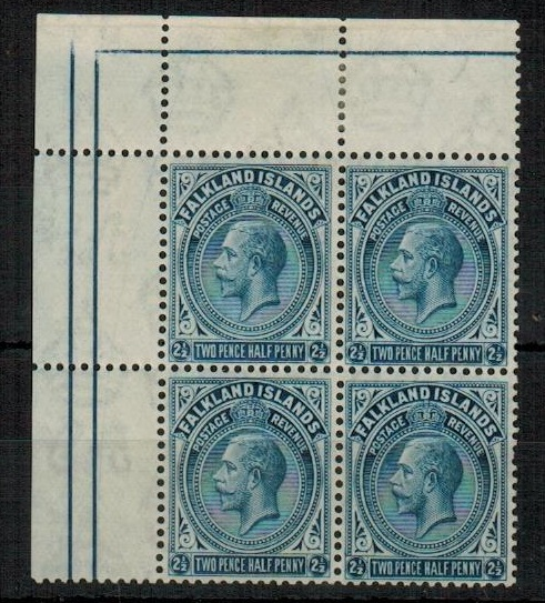 FALKLAND ISLANDS - 1928 2 1/2d deep steel blue  a fine unmounted mint block of four.  SG 76b.