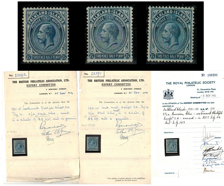 FALKLAND ISLANDS - 1921-28 6 mint shades of the 2 1/2d (3 with certificates).  SG 76/76b.